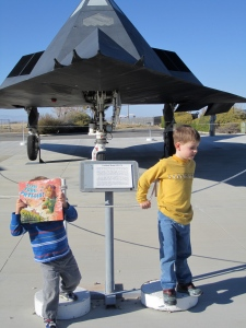 Phyllis in front of an F-117 Nighthawk stealth fighter plane