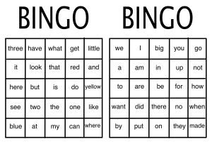 SightWordBingo
